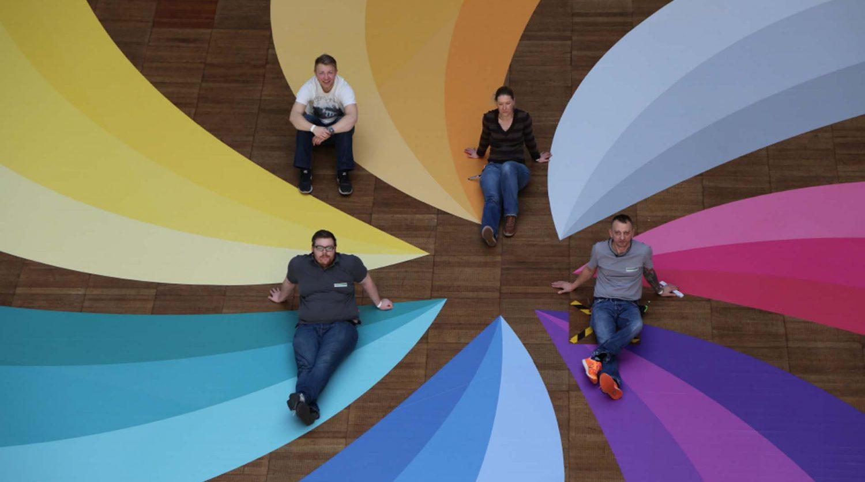 Windmühlengrafik als Floorgraphic